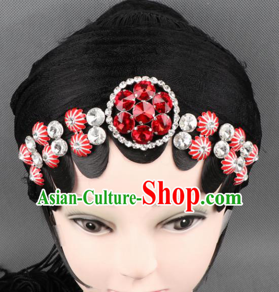 Asian Chinese Beijing Opera Diva Hair Accessories Ancient Princess Red Crystal Hairpins for Women