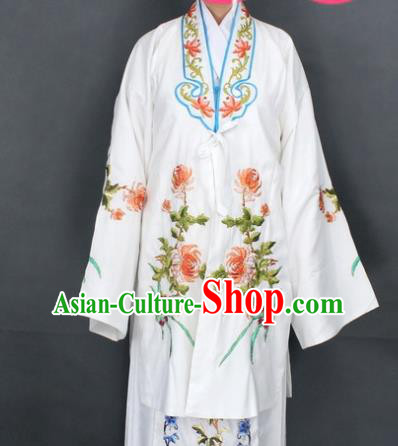 Traditional Chinese Beijing Opera Actress Costume Ancient Nobility Lady White Dress for Women