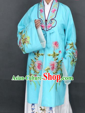 Traditional Chinese Beijing Opera Actress Costume Ancient Nobility Lady Blue Dress for Women