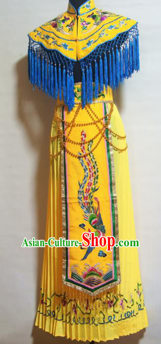Traditional Chinese Beijing Opera Costume Ancient Princess Yellow Dress for Women