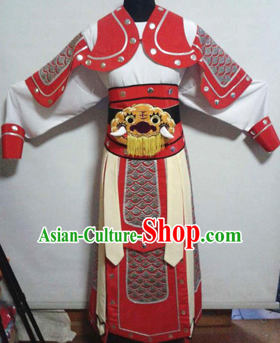 Traditional Chinese Beijing Opera Takefu Costume Ancient Warriors Red Clothing