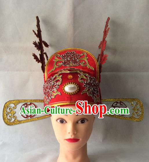 Asian Chinese Traditional Beijing Opera Niche Headwear Ancient Number One Scholar Red Hat for Men