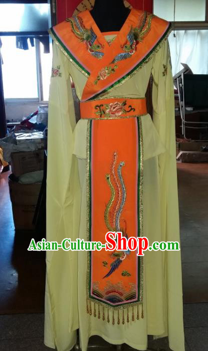 Traditional Chinese Beijing Opera Costume Ancient Peri Princess Yellow Dress for Women