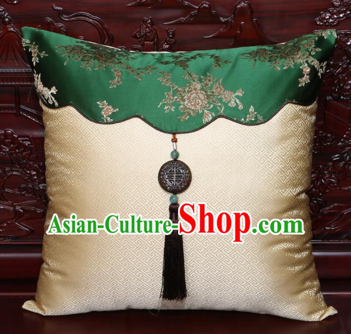 Chinese Classical Peony Pattern Jade Pendant Light Golden Brocade Square Cushion Cover Traditional Household Ornament
