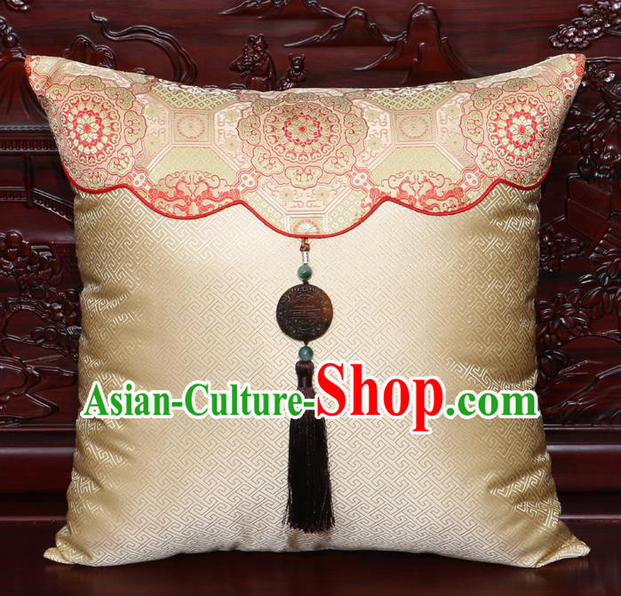 Chinese Classical Pattern Jade Pendant Light Golden Brocade Square Cushion Cover Traditional Household Ornament