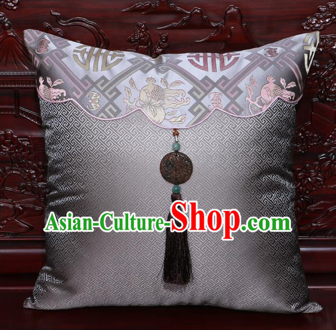 Chinese Classical Pomegranate Pattern Jade Pendant Grey Brocade Square Cushion Cover Traditional Household Ornament