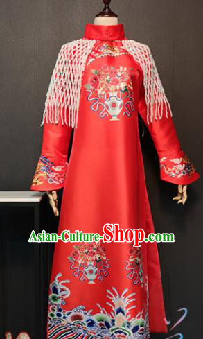 Traditional Chinese Ancient Drama Qing Dynasty Imperial Concubine Red Costume for Women