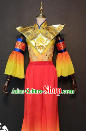 Asian Chinese Traditional Folk Dance Costume New Year Drum Dance Red Clothing for Women
