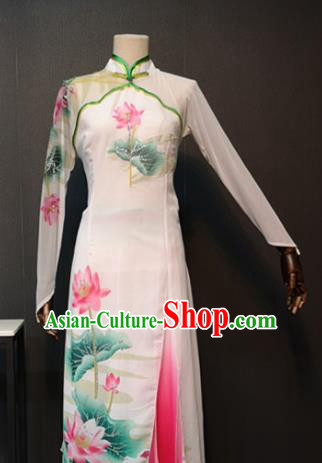 Asian Chinese Traditional Classical Dance Costume Umbrella Dance White Dress for Women