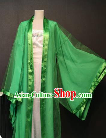 Asian Chinese Traditional Classical Dance Costume Ancient Peri Green Dress for Women