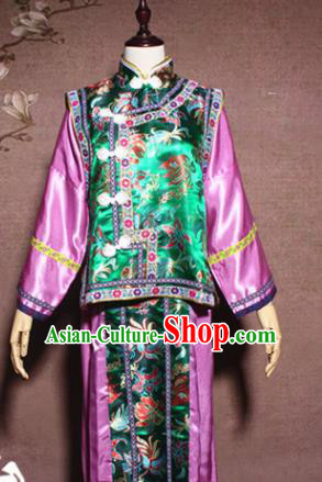 Traditional Chinese Ancient Drama Qing Dynasty Manchu Princess Costume Hanfu Dress for Women