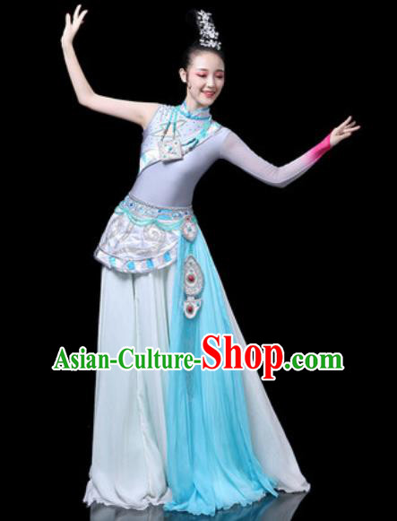 Chinese Traditional Ethnic Dance Costume Zang Nationality Dance Blue Dress for Women