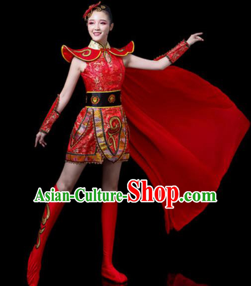 Traditional Chinese Folk Dance Costume Stage Performance Drum Dance Red Clothing for Women