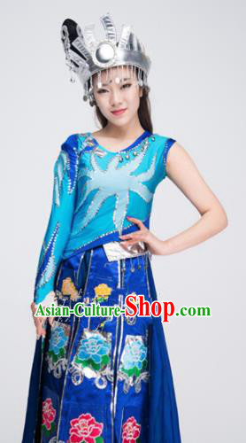 Asian Chinese Traditional Ethnic Costume Miao Nationality Dance Blue Dress for Women