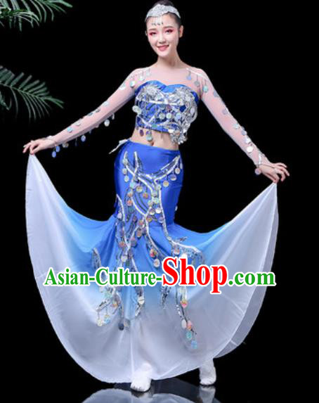 Chinese Traditional Ethnic Dance Costume Dai Nationality Peacock Dance Blue Dress for Women
