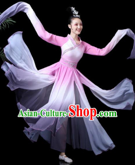 Traditional Chinese Classical Dance Costume Stage Performance Pink Dress for Women
