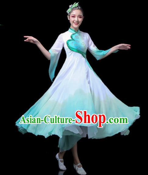 Traditional Chinese Classical Dance Costume Stage Performance Green Dress for Women