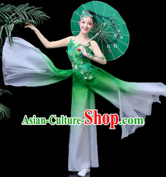 Traditional Chinese Folk Dance Costume Yanko Dance Green Clothing for Women