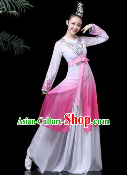 Traditional Chinese Classical Dance Costume Stage Performance Umbrella Dance Pink Dress for Women