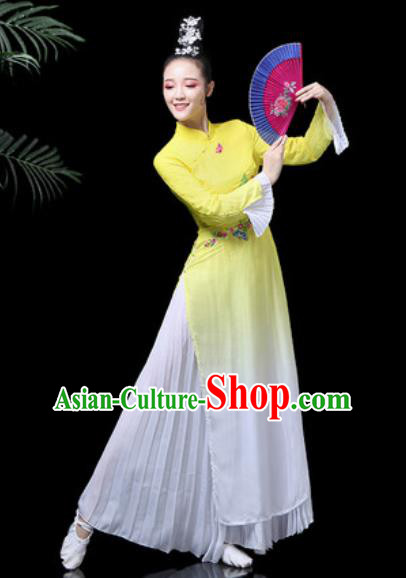 Traditional Chinese Classical Dance Costume Stage Performance Umbrella Dance Yellow Dress for Women