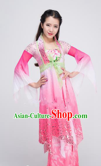 Asian Chinese Traditional Classical Dance Costume Lotus Dance Pink Dress for Women