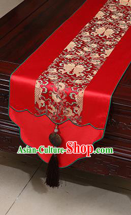 Chinese Traditional Fishes Pattern Red Brocade Table Flag Classical Satin Household Ornament Table Cover