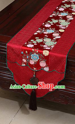 Chinese Traditional Peony Pattern Red Brocade Table Flag Classical Satin Household Ornament Table Cover