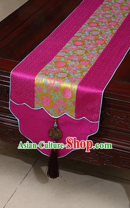 Chinese Traditional Peony Pattern Rosy Brocade Table Flag Classical Satin Household Ornament Table Cover