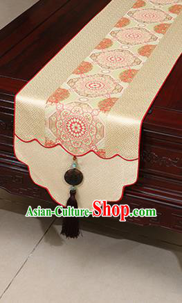 Chinese Traditional Pattern Beige Brocade Table Flag Classical Satin Household Ornament Table Cover