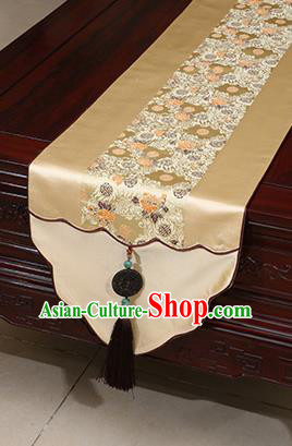 Chinese Traditional Pattern Golden Brocade Table Flag Classical Satin Household Ornament Table Cover