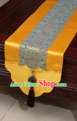 Chinese Traditional Wave Pattern Golden Brocade Table Flag Classical Satin Household Ornament Table Cover