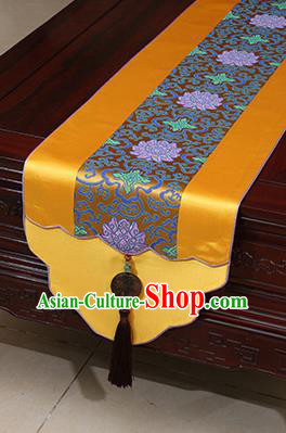 Chinese Traditional Lotus Pattern Golden Brocade Table Flag Classical Satin Household Ornament Table Cover