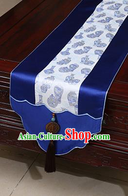 Chinese Traditional Vase Pattern Royalblue Brocade Table Flag Classical Satin Household Ornament Table Cover