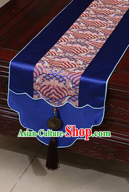 Chinese Traditional Wave Pattern Royalblue Brocade Table Flag Classical Satin Household Ornament Table Cover