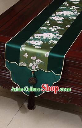 Chinese Traditional Peony Pattern Atrovirens Brocade Table Flag Classical Satin Household Ornament Table Cover
