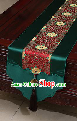 Chinese Traditional Pattern Atrovirens Brocade Table Flag Classical Satin Household Ornament Table Cover