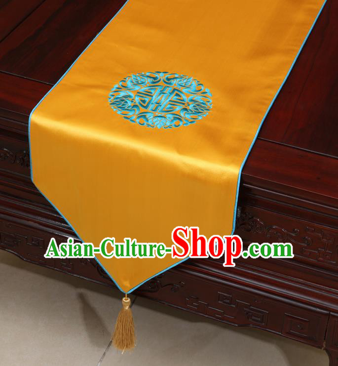 Chinese Classical Embroidered Pattern Golden Brocade Table Flag Traditional Satin Household Ornament Table Cover