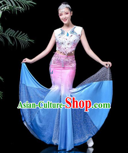 Chinese Traditional Ethnic Dance Costume Dai Nationality Peacock Dance Dress for Women