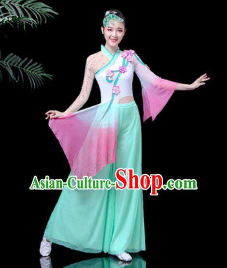 Traditional Chinese Stage Performance Costume Folk Dance Fan Dance Green Clothing for Women