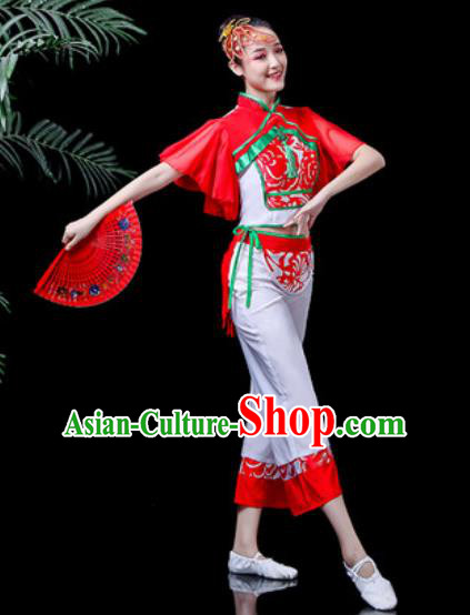 Traditional Chinese Stage Performance Costume Folk Dance Yangko Dance White Clothing for Women