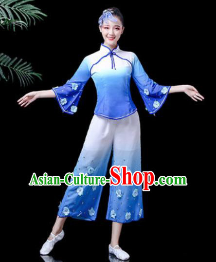 Traditional Chinese Yangko Dance Stage Performance Costume Folk Dance Blue Clothing for Women