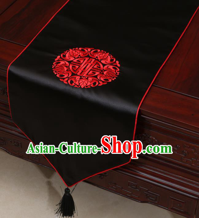 Chinese Classical Embroidered Pattern Black Brocade Table Flag Traditional Satin Household Ornament Table Cover