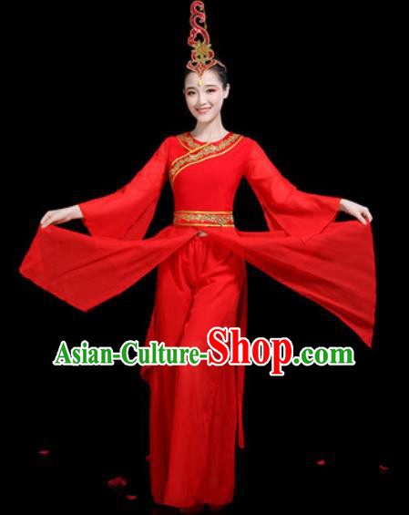 Traditional Chinese Classical Dance Stage Performance Costume Umbrella Dance Red Dress for Women