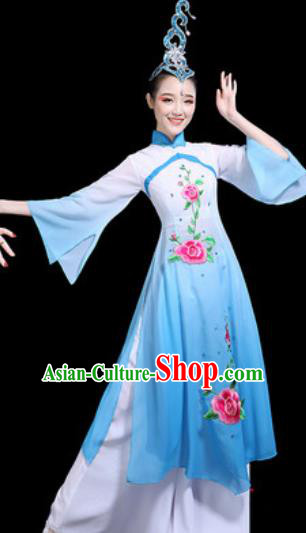 Traditional Chinese Stage Performance Costume Classical Dance Umbrella Dance Blue Dress for Women