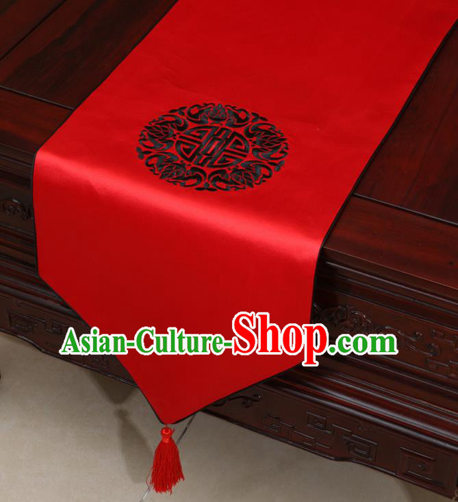 Chinese Classical Embroidered Pattern Red Brocade Table Flag Traditional Satin Household Ornament Table Cover