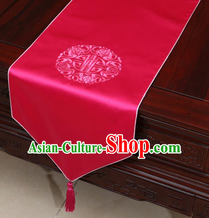 Chinese Classical Embroidered Rosy Brocade Table Flag Traditional Satin Household Ornament Table Cover