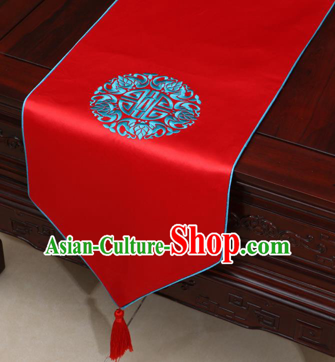Chinese Classical Embroidered Red Brocade Table Flag Traditional Satin Household Ornament Table Cover