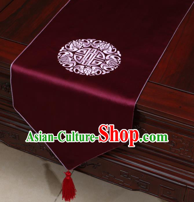 Chinese Classical Embroidered Wine Red Brocade Table Flag Traditional Satin Household Ornament Table Cover