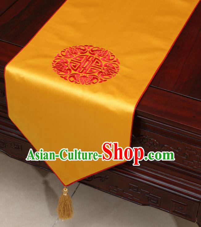 Chinese Classical Embroidered Yellow Brocade Table Flag Traditional Satin Household Ornament Table Cover
