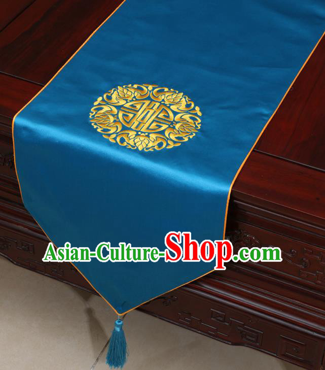 Chinese Classical Embroidered Blue Brocade Table Flag Traditional Satin Household Ornament Table Cover